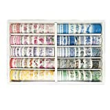 100Rolls/Set Multicolor Retro Washi Tapes Paper Masking Tapes for Arts, DIY Crafts, Diary Journals, Planners, Scrapbooking, Wrapping Decoration,10Colors