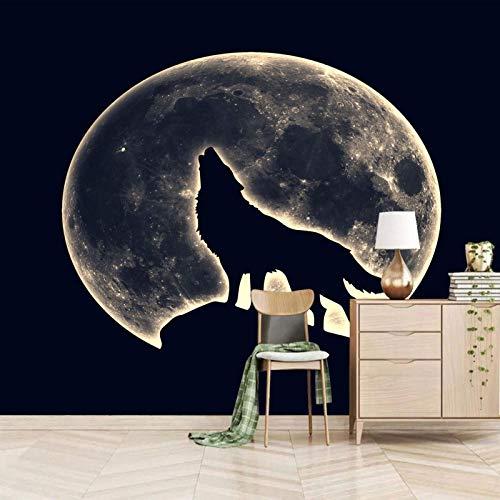 Msrahves Papel Pintado Fotográfico Luna vista nocturna animales lobos Fotomurales para Paredes Mural Vinilo Decorativo Decoración comedores,Salones, Habitaciones