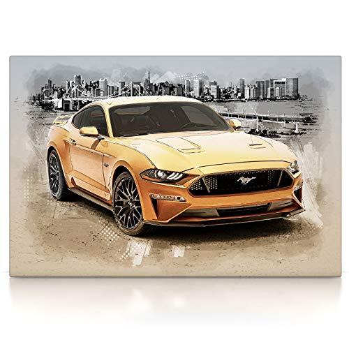 Ford Mustang - Leinwand Bild auf Keilrahmen Wandbild Auto 04.4301 (60x40 cm)