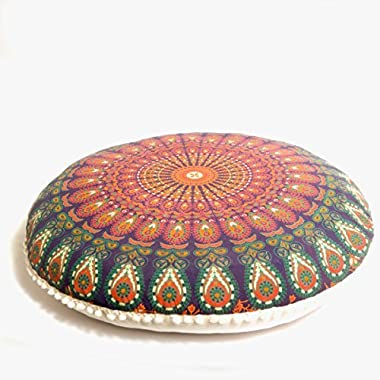 Mandala Life ART Bohemian Decor Floor Cushion Cover - 30 inches - Round Floor Pillow Pouf Cover - Colorful Orange 100% Hand Printed Organic Cotton by