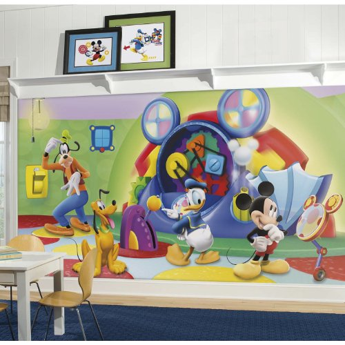 RoomMates Mickey & Friends Clubhouse Capers Chair Rail Removable Wall Mural - 10.5 feet X 6 feet