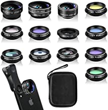Phone Camera Lens Kit (13 Pieces) for iPhone 11 Xs 10 8 7 6 Plus SE Samsung and Most Andriod Phone- Wide Angle Lens & Macro Lens+Fisheye Lens and More