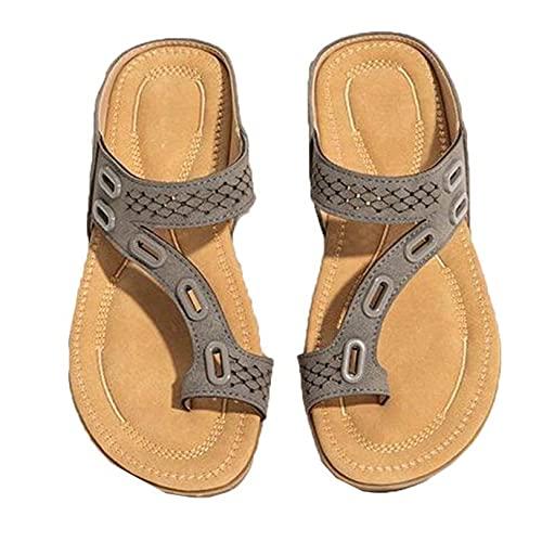 Zapatilla de verano para mujer, sin cordones, informal, diario, ligero, con punta de clip, diapositivas pobres, sandalias de mula huecas de color sólido