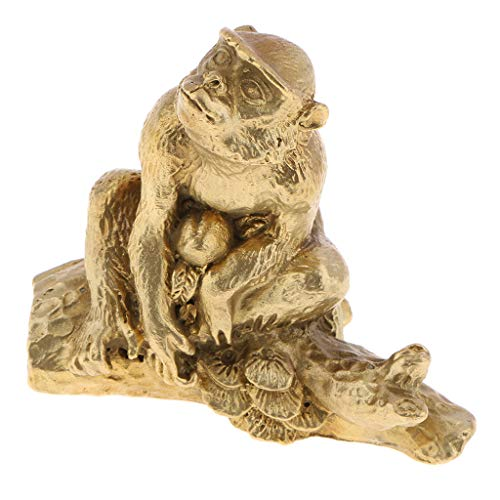 Sharplace Animaux Laiton Chinois Statue Animale Zodiaque Sculpture Ornement Charme Chance - Singe