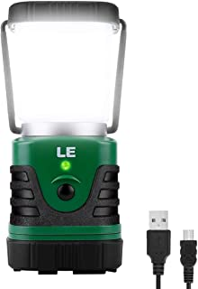 LE LED Camping Lantern Rechargeable, 1000LM, 4 Light Modes, 4400mAh Power Bank, IPX4 Waterproof, Perfect lantern flashlight for Hurricane Emergency, Hiking, Home and More, USB Cable Included