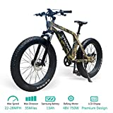 vtuvia Electric Bike Fat Tire Mountain E-Bike 26' 48V Hunting Fishing Beach Electric Bicycle for Adults 750W High-Speed Brushless Rear Motor 13AH Removable Samsung Li-ion Battery (Camouflage)