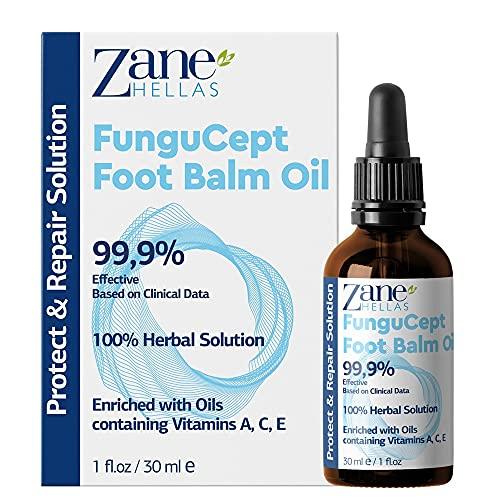 Zane Hellas Fungucept Foot Balm - Bálsamo para los pies .Repara y protege contra picazón, quemaduras, grietas, descamación. Detiene el mal olor. Resultados visibles en 5 días. 1 onza líquida-30ml.