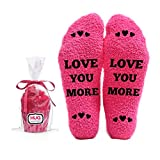 Love You More - Funny Socks - Cool Pink Fuzzy Novelty Cupcake Socks for Her - Best Gift Idea for Mom, Wife, Sister, Friend, Aunt or Grandma - Birthday, Christmas Stocking Stuffer - 1 Pair…