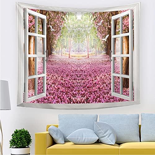 Paisaje natural tapiz de pared verano árboles exuberantes lago ventana escena tapiz colgante de pared hippie arte de la pared manta A1 180x230cm