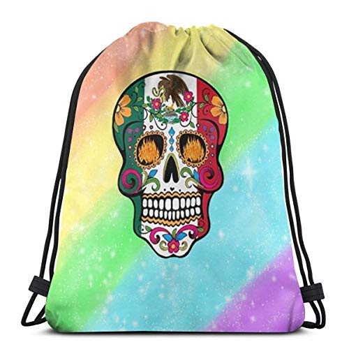 Drawstring Backpack Bags Mexico Flag Sugar Skull Day Of The Dead Adult Lightweight Sport Gym String Storage Sackpack