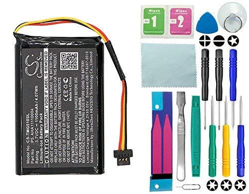 CameronSion - Batería para Tomtom Go 510, Go 520, Go 520 WiFi, 4FA50, AHA11110004, P5, P6 (1100 mAh, 14 en 1)