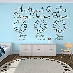 Wall Stickers Murals Kids Birth Date Wall Decal Kids Room Bedroom A Moment in Time Changed Our Lives Clock Wall Sticker Vinyl Nursery Art