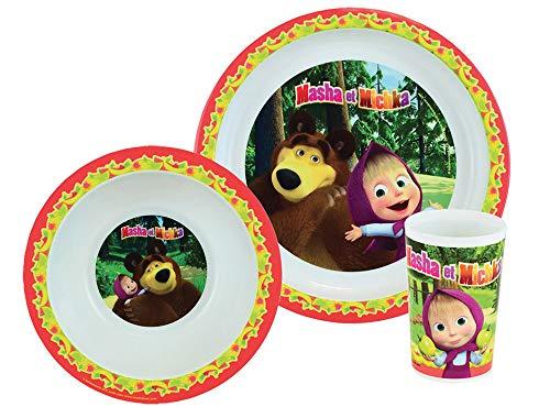 FUN HOUSE 005844 MASHA ET MICHKA Ensemble repas composé d'une assiette, d'un bol et d'un verre pour enfant