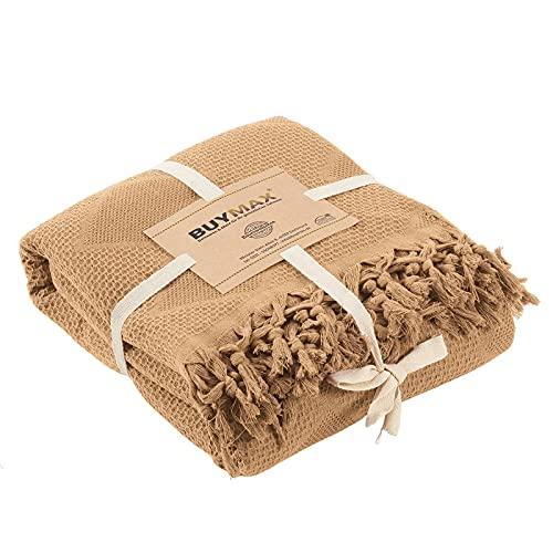 Pique Tagesdecke 220x240 cm Waffeloptik mit Fransen 100prozent Baumwolle Überwurf Sofadecke Baumwolldecke Wohndecke Quilt Pikee Uni Einfarbig, Farbe Ocker Gelb