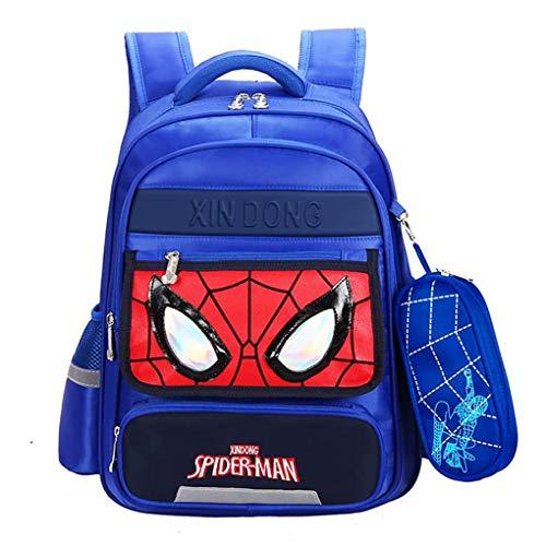 XNheadPS Childrens Sacchetto di Scuola - Spiderman Zaino Leggero Portatile Carry Bambini Bagagli sul Carrello Valigia per Il Viaggio per Le Vacanze,Blue-S