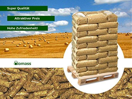 Biomass Products Strohpellets, 8 mm, 975 kg, 65 x 15 kg Säcke, Palette, Pferd, Einstreu