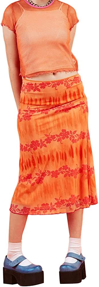Listenwind Women Skirt with Floral Print Bright Colors Bohemian Style Casual Summer Beach Clothing