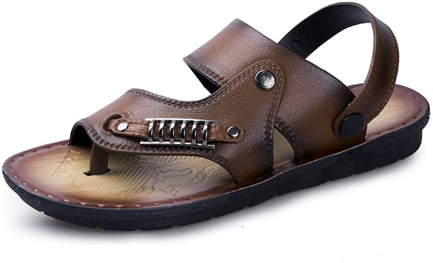 Breathable Anti-Slip Flat Waterproof Quick-Drying Round Toe Buckle Summer Beach Slippers Compatible Men PU Leather Outdoor Casual Sandals (color   Brown, Size   9 UK)