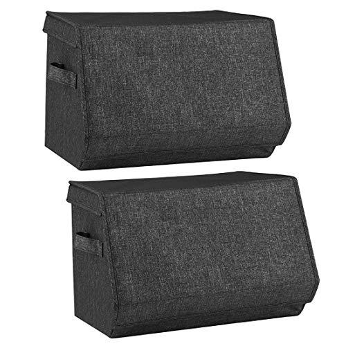 i BKGOO Set di 2 contenitori impilabili, scatola organizer pieghevole in tessuto di lino con coperchi e maniglia per casa, ufficio, scuola materna Rosso 38x26,5 x 25 cm