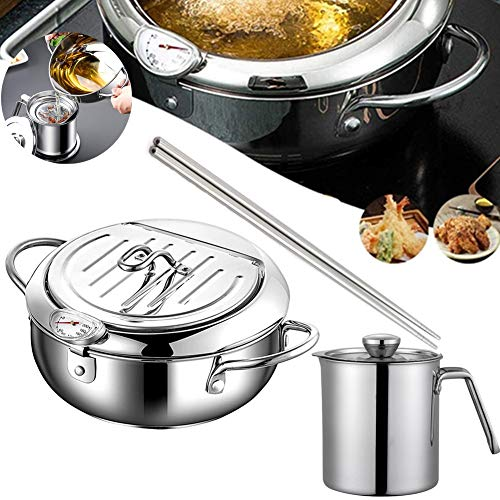 Deep Frying Pan,Japanese Tempura Deep Fryer Household Frying Pot with Thermometer,Dust-Proof Lid and Oil Drip Rack,Nonstick Stainless Steel Fryer Pot &Grease Strainer and Container for Kitchen Cooking