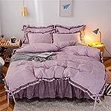 Faldas de cama Falda de 3 piezas Falda de la colcha Set Sólido Color de la rejilla de la rejilla de la rejilla de la rejilla Falda y la cubierta y la funda de almohada, Ruffles de polvo Ropa de cama a