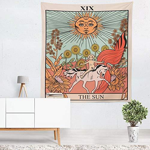 Tapiz de la Carta del Tarot El Sol La Luna y la Estrella Europa Medieval Adivinación Eclipse Tapiz de Pared Estrellado Cielo Nocturno Tapiz