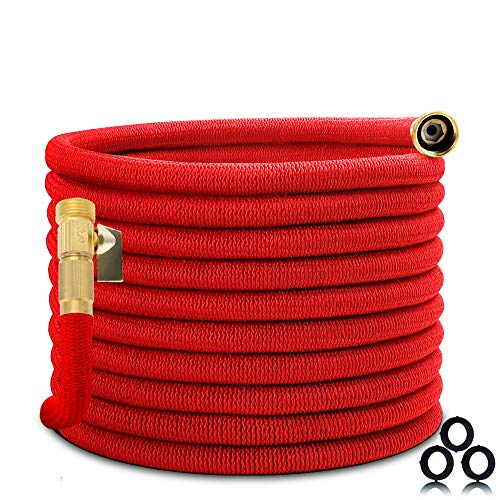 Homes Garden Expandable Garden Hose 50 FT, Flexible & Durable, Lightweight, No Leaking, No Kink, 3/4' Solid Brass Fittings, ON/OFF Valve (Spray Nozzle Not Included) #G-W024A00-US