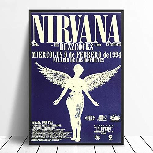 wopiaol Sin Marco Cartel de Concierto de Nirvana Palicio De Los Deportes (España 1994) Vintage Gig Print Kurt Kobain Music Home Decor Wall Art Canvas Print