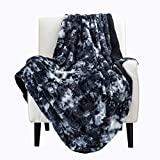 Bedsure Faux Fur Reversible Tie-dye Sherpa Throw Blanket for Sofa, Couch and Bed - Super Soft Fuzzy Fleece Blanket for Outdoor, Indoor, Camping, Gifts (50x60 inches, Deep Blue)