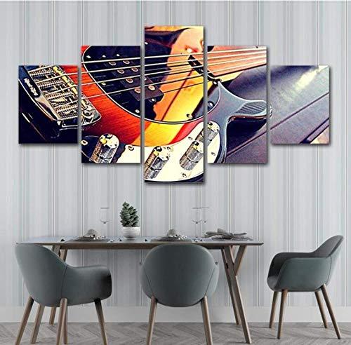 Leinwand HD-Drucke Kunstwerk Poster 5 Stück Leinwand Gitarre Malerei Musikinstrumente Restaurant Wohnkultur Wandkunst Modulares Bild D7 200x100 cm