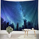 LB Trippy Galaxy Forest Tapestry, Psychedelic Space Universe Tapestry Wall Hanging, Starry Night Blanket Wall Decor for Bedroom Living Room Dorm Home Decor, 60 x 40 Inches