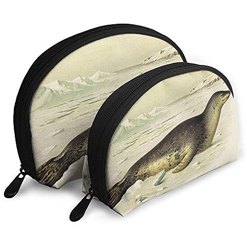 Animales sellados Sea Lion Bolsas portátiles Bolsa de Maquillaje Bolsa de Aseo, Bolsas de Viaje portátiles multifunción Pequeña Bolsa de Embrague de Maquillaje con Cremallera