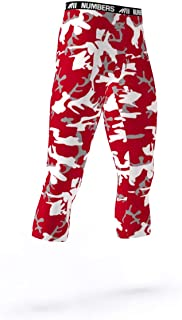 3/4 Length Tights- CAMO Ripper Blitz (Maroon, White, Gray)- Boys Mens Football Basketball Compression Tights Sports Pants Baselayer Leggings to Match Uniforms