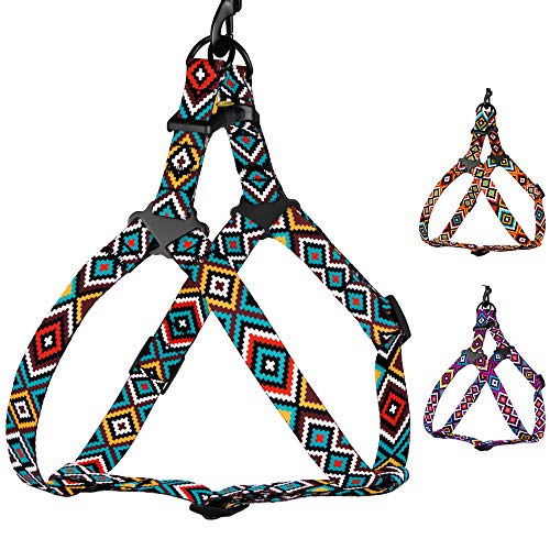 CollarDirect Adjustable Dog Harness Aztec Pattern Tribal Design Pet Step-in Vintage Comfortable Harnesses for Dogs Small Medium Large Puppy (Ethnic Teal, Large)