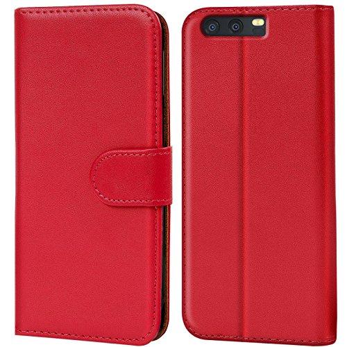 Verco P10 Hülle, Handyhülle für Huawei P10 Tasche PU Leder Flip Hülle Brieftasche - Rot