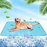 BINGPET Pet Self Cooling Mat for Dogs & Cats - Waterproof Summer Ice Silk Sleeping Pad Blanket with Non-Slip Bottom, Foldable & Washable & Reusable Pee Pad for Indoor Outdoor Use - 35in x 23in