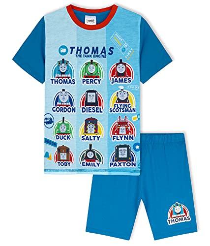 Thomas and Friends Pijama Niño, Pijama Niño Verano De Thomas Y Sus Amigos, Pijama Corto Niño De 2 A 6 Años (Azul, 4-5 años)
