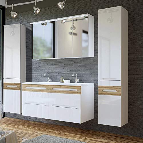 Lomadox Badezimmer Doppel-Waschtisch Set, Hochglanz weiß mit Wotaneiche, Waschtisch-Unterschrank mit Keramik-Waschbecken
