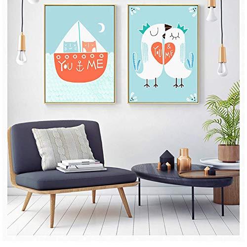 Nbqwdd Lienzo de Pintura de Dibujos Animados Gato de Vela Amor Pollo Carteles e Impresiones Cuadros de Pared para la Sala de Estar decoración del hogar Arte de la Pared -50x70cmx2 sin Marco