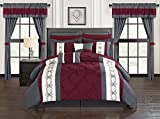 Chic Home Icaria 20 Piece Comforter Set Color Block Pinch Pleat Pintuck Design Bag Bedding-Sheets Window Treatments Decorative Pillows Shams Included, King, Red