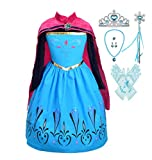 Lito Angels Girls Princess Snow Ice Queen Sister Coronation Costumes Halloween Birthday Fancy Party Dress Up with Accessories Size 4-5 Blue136