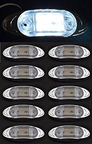 Lot de 10 feux de gabarit latéraux avant blancs 24 V 6 LED avec lunette en plastique chromé pour camion, caravane, remorque, camping-car, bus, van, usage extérieur ou intérieur.