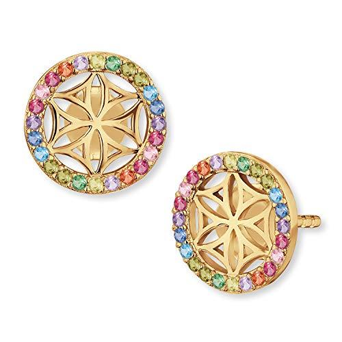 Engelsrufer® inkl. Giveaway - Ohrringe für Damen aus 925er Sterlingsilber in verschiedenen Designs (Lebensblume Multicolor Gold Ohrstecker)