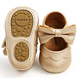 LAFEGEN Baby Girls Mary Jane Flats with Bownot Non Slip Soft Sole PU Leather Newborn Infant Toddler First Walker Cirb Dress Shoes, 6-12 Months Infant, 07 Gold