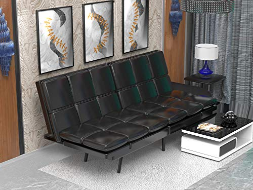 Milemont Futon Sofa Bed Memory Foam Couch Sleeper Daybed Foldable Convertible Loveseat, Single, Black