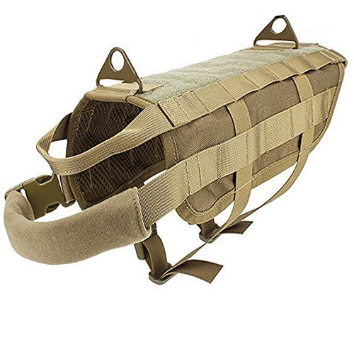Ultrafun Tactical Dog Molle Vest Military Training Harness with Handle Outdoor Pet Supplies (Tan, L)
