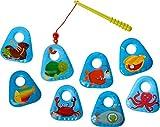 HABA 303606 - Angelset Meerestiere   Badespielzeug mit bunten Meeresmotiven   Set aus Angel und 8 Angel-Elementen   Badewannenspielzeug ab 18 Monaten