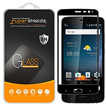 2 Pack  Supershieldz Designed for ZTE Blade V8 Pro Tempered Glass Screen Protector  Full Screen Coverage  Anti Scratch Bubble Free  Black