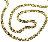 Cadena de oro amarillo 750 18 K, longitud 60 cm, malla de cuerda trenzada, grosor 2,5 mm, fabricado en Italia