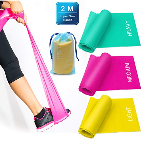 Zhichengbosi 3 Pack Resistance Exercise Band Set 2 m x 15 cm Elastic Flat Resistance Bands Heavy Strength Fitness Bands for Pilates Gym Physical Therapy Yoga Carry Bag Green Yellow Rose Red